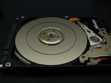 A Western Digital Scorpio 2.5 inch drive with a scored platter.