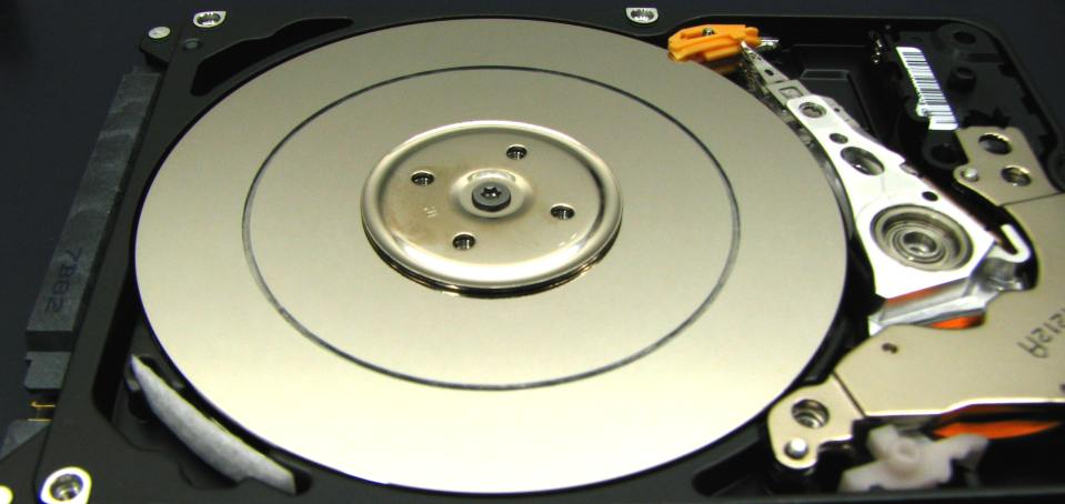 An example of a laptop hard drive showing scoring believed to be similar to what was mentioned by John Minsek when he described the damage to Ms. Lerner's hard drive.